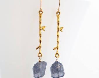 Raw Iolite Earrings - Rough Stone Dangle Earrings - Long Drop Earrings - Boho Chic Jewelry - Raw Crystal Earrings