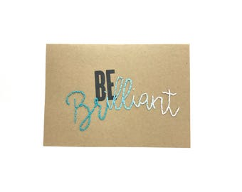 Be Brilliant Hand Sewn Card - - Ombré Blue Turquoise Teal Birthday Card - Just Because – Blank