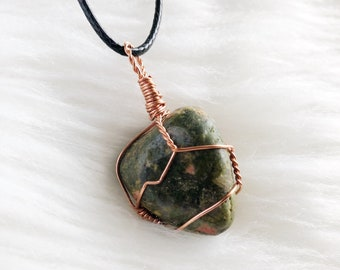 Unakite Copper Wire Wrap Crystal Pendant Necklace Hippie Wicca Boho Summer Gift