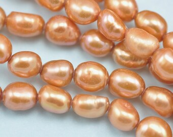 5-6mm Orange Baroque Rice Oval Freshwater Pearls