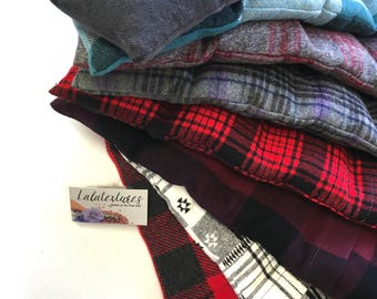 "FLAX HEATING PAD, Microwavable ""The Flax SaK""  Plaid Flannel washable covers, Perfect Christmas Gift Ideas, Hot Cold Pack,  100 % Flax seeds"