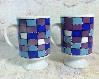 Funky Retro Mugs Blue and Purple Checkered Print Japan Pair