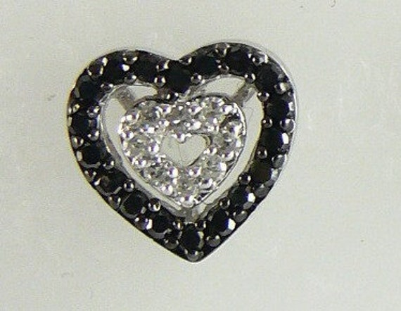 Diamonds 0.31ct Black and White Stud Earring 14k White Gold