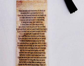 If By Rudyard Kipling Vintage Paper Bookmark