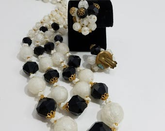 Beautiful Double Strand Beaded Necklace and Matching Clip Earrings from West Germany