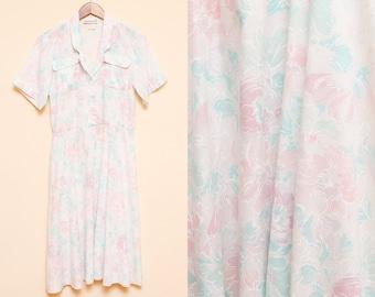Pastel Floral Dress // White Shirt Dress // 1980s Collared Breast Pocket Linen Hipster Retro Dress Size Medium