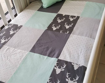 Baby blanket coutepointe infant - size crib - deer, mint green, gray