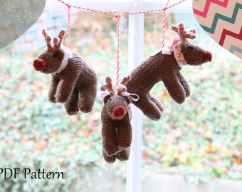 KNITTING PATTERN - Ruldolph the Red Nose Reindeer (Christmas Decoration/Tree Decoration)