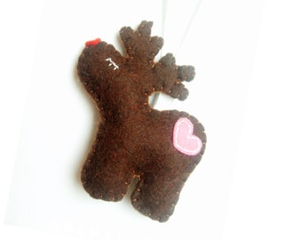 Rudolf - Reindeer ornament - felt ornaments - Christmas/Housewarming home decor
