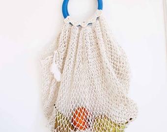 Mesh market bag, Shopping bag, cotton handbag, market bag, eco bag, mesh bag, hand-tied net, Boho style bag, 50s retro bag
