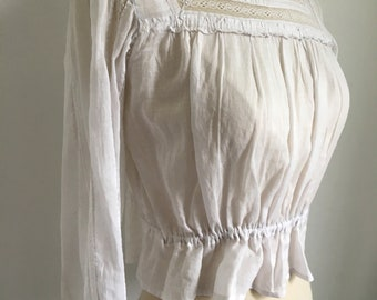 Antique blouse 1910s edwardian for gibson girl sheer cotton with lace