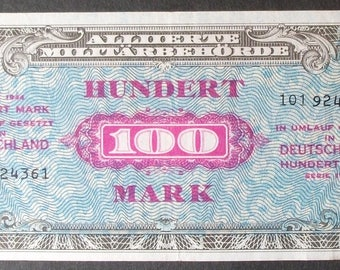 Germany 197b 100 Mark XF Allied Military Currency, Russian Printing