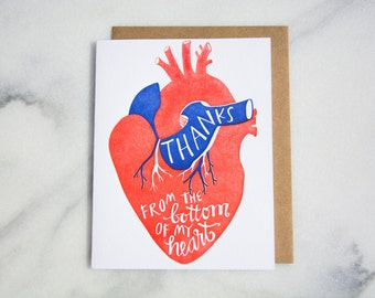 Thanks from the Bottom of my Heart Letterpressed Card