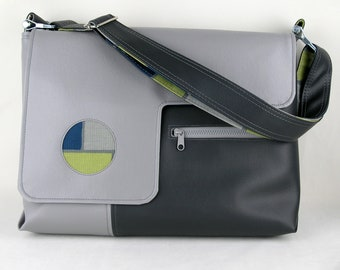 "Vegan Laptop Bag in Gray, 17"", 15"", 13"" vinyl laptop bag"