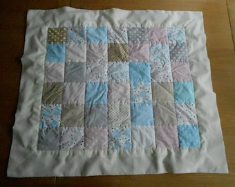 Patchwork Baby Blanket in Blue, Pink, Grey and Tan