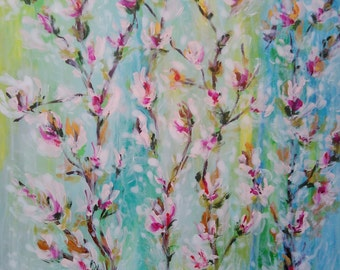 Abstract spring flowers acrylic painting on canvas 20*20""