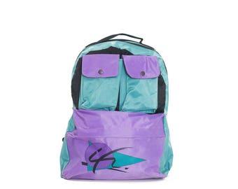 Neon backpack | Vintage backpack | Fluo backpack | School bag 90s | Backpack 90s neon | Colorblock bag