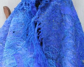 ELECTRIC BLUE SHAWL. scarf . handmade, unique. artsy.Ready to ship