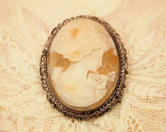 """Vintage Cameo Brooch Pin Pendant - Delicate Carved Shell Cameo - RA800 - Ornate Layered 800 Silver Filigree Frame - C Clasp - 1 7/8"""" x 1.25"""""""
