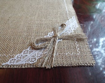 Placemats, Burlap Placemats, Burlap and Lace , Rustic Table Placemat