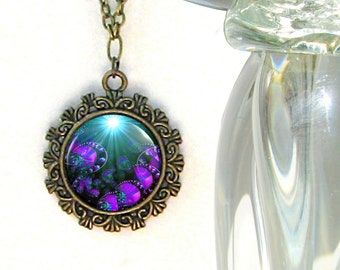 "Purple Jewelry, Third Eye Chakra Necklace, Reiki Energy Pendant ""Worlds within Worlds"""
