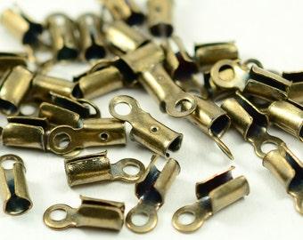 100 Pcs Antique Brass Round 9x3 mm Fold Over Crimp End , Ribbon End Crimp, Leather Cord End Finished