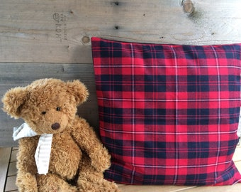 Red and Navy Plaid pillow cover