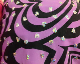 Hearts print stretch polyester