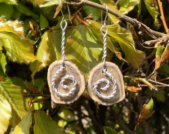 Real antler earrings with silver spiral design