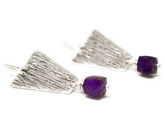 Sterling Silver Amethyst Earrings, Talisman Collection, Hammered, Metalwork, Faceted Gemstone, Wire Wrapped, Minimalist