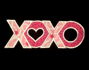 Lovey Dovey XOXO - Hugs and Kisses Machine Embroidery Design and Applique Design in Many Sizes
