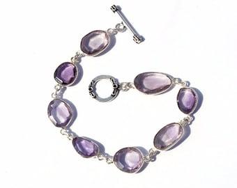 """Amethyst Gemstone Bracelets, 925 Sterling Silver Overlay Bracelets, Faceted Bezel Set Gemstone Bracelet, Handmade Jewelry 8"""" Long"""