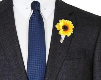Sunflower Boutonniere - Set of Five Men's Wedding Boutonniere, Country Wedding Boutonniere