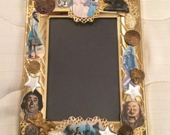 OOAK Artist Made Dorothy Cowardly Lion Scarecrow Tin Man Glenda the Good Witch Wizard of Oz Picture Frame