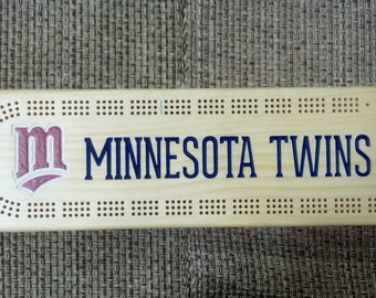 Rustic Cribbage Board - Minnesota Twins - M - Baseball Furniture Log Cabin Lodge Deer Camp Man Cave