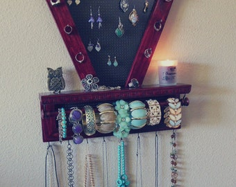 Beautiful Cabernet Stained Jewelry Organizer, Wall Jewelry Organizer, Necklace Organizer