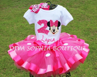 Personalized Minnie Mouse Ribbon Tutu Set with Number - Birthday Set