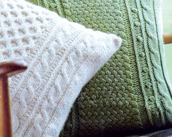 Aran10 ply Fishermans Knit  Cushions 14 x 14 ins-  2 styles  - PDF of Vintage Knitting Pattern Instant Download  HD