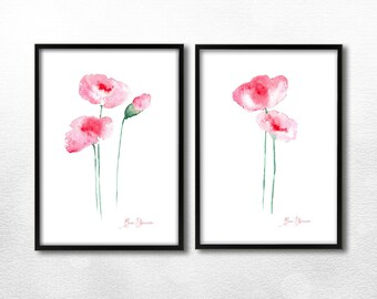 2 printables red flowers, watercolor poppies, original painting flowers, set of two prints, flower art instant download printable, wall art