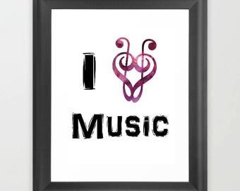Music Teacher gift, music teacher sign, Teacher appreciation, gift for teacher, Instant download, classroom decor, I love music