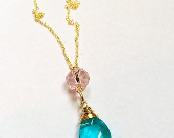 Pretty Pink Crystal Bead and Blue Glass Stone Gold Necklace