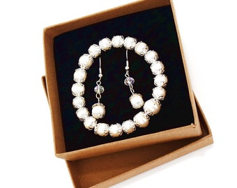 Pearl Beads Bracelet & Earrings Jewelry Gift Set_ 4 Styles Available