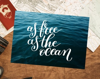 As Free as the Ocean Inspirational Quote A4 Art Print