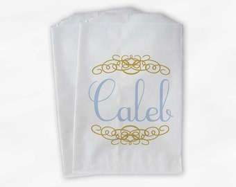 Personalized Candy Buffet Bags - Baby Blue and Gold Custom Favor Bags with Name and Henna Flourish Design - 25 Paper Treat Bags (0038)