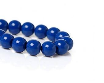 100 Royal Blue 8 mm glass beads