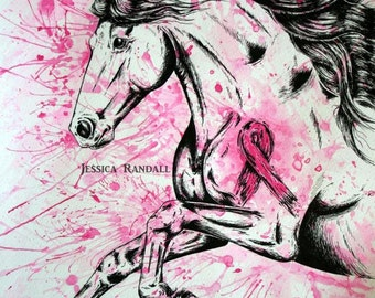 "Breast Cancer Fighter Horse; 12x16"" Art Print"