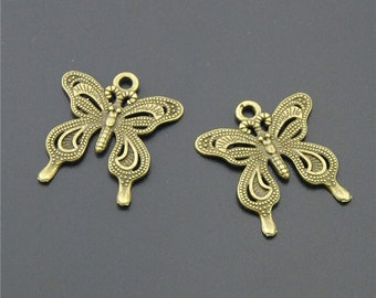 30pcs Antique Bronze Butterfly Charms  A981