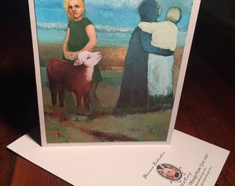 """Blank Art Card, """"Casual Departure"""" Baby Calf Art, calf art, 5x7 Blank Note Card, BFF Card, apology card, condolence card, missing you card"""