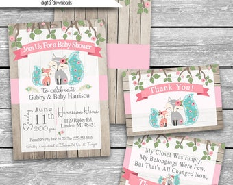 5x7 Customized Baby Shower Invitation Front, Back & Thank You Card front/back Digital Download Teal Coral Fox Eva Wood Look Printable JPG