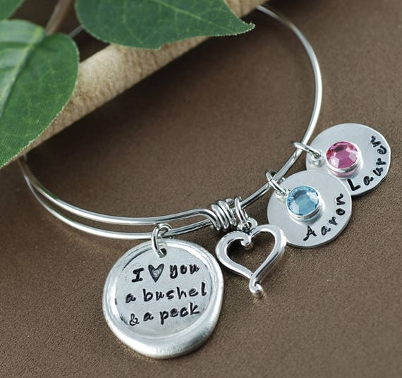 I love you a bushel and a peck Bracelet, Personalized Bangle Bracelet, Silver Bangle Charm Bracelet, Mothers Bracelet, Gift for Mom
